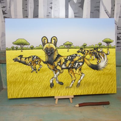 African Painted Dogs Illustration – A3 Giclée Print