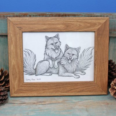 Grey Wolves Framed Original Pencil Drawing