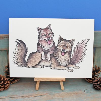 Grey Wolves Illustration – A4 Print