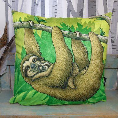 Three-Toed Sloths Throw Pillow