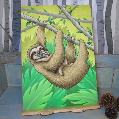 Three-Toed Sloths Illustration – A3 Giclée Print