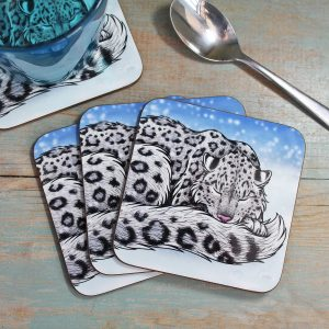 Single (x1) Snow Leopard Coaster