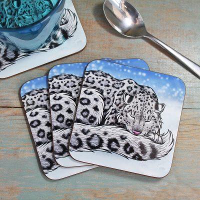 Single (x1) Snow Leopard Coaster