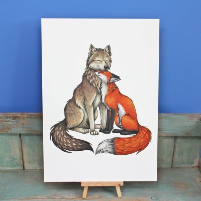 Wolf & Fox Illustration – A3 Print
