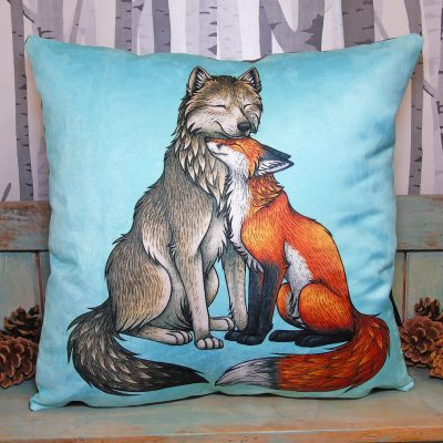 Wolf & Fox Vegan Throw Pillow