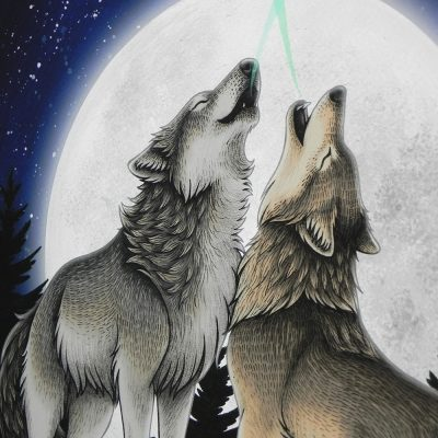 Wolf Song Illustration – A3 Giclée Print