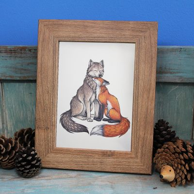 Wolf & Fox Illustration Framed Mini Print