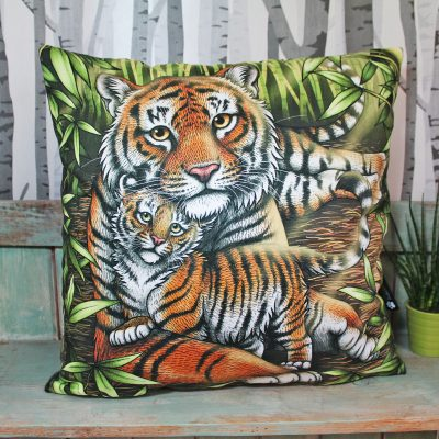 Sumatran Tiger & Cub Throw Pillow