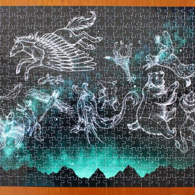 Midnight Menagerie Illustration 500 Piece Jigsaw