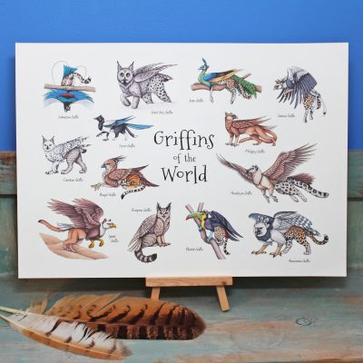 Griffins of the World Illustration – A4 Print