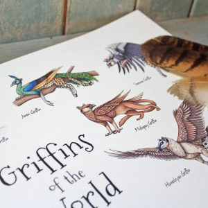 Griffins of the World Illustration – A3 Print