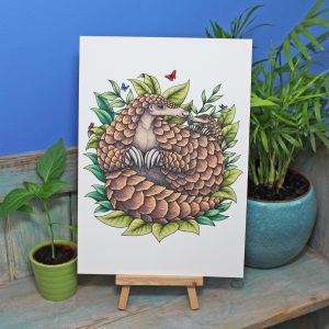Giant Pangolins Illustration A3 Print ~ 50% of each sale donated to Giant Pangolin Conservation Project