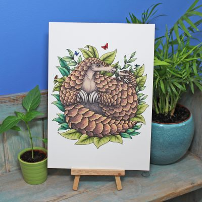 Giant Pangolins Illustration A4 Print ~ 50% of each sale donated to Giant Pangolin Conservation Project