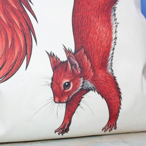 Red Squirrel Tote Bag ~ 100% Organic & Fairtrade Cotton