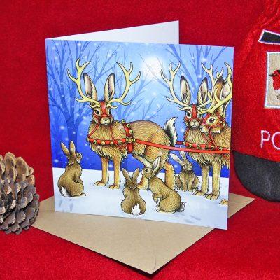 Jackalope Sleigh Christmas Card