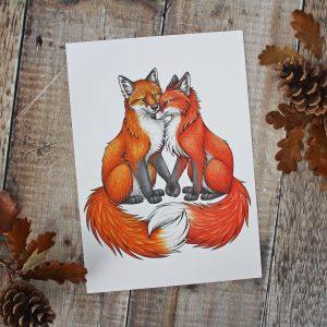 Fox and Vixen Illustration – A4 Print