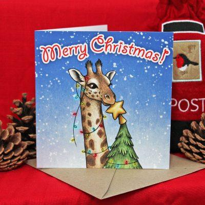 Having A Wild Christmas ~ Giraffe Christmas Card