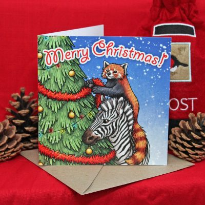 Having A Wild Christmas ~ Red Panda & Zebra Christmas Card