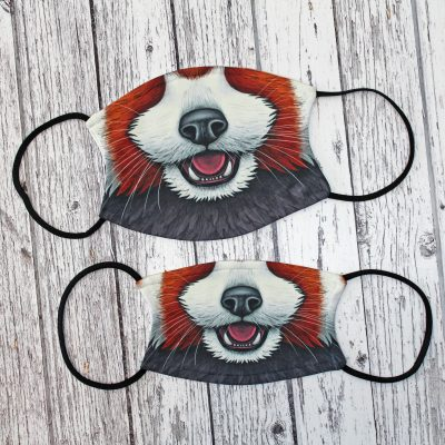 1 x Red Panda Nose Illustration Face Mask ~ Large / Small Sizes Available